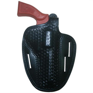 "Hellweg Ecor E-0280-BW-M4 LVL 1 Basketweave Leather Pancake Holster 4"" - Suits S&W, Ruger, Colt, Dan Wesson & Taurus Revolvers"