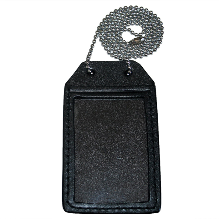Hellweg Single Window Leather Identification Card Holder With Chain