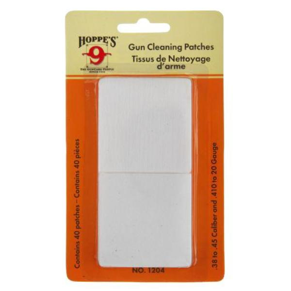 Hoppe's (1204) Woven Gun Cleaning Patches 40 Pack - Suits  .38 to .45 Cal & .410 to 20 Gauge Shotgun