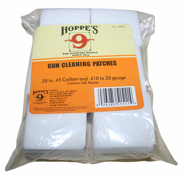 Hoppe's (1204S) Woven Gun Cleaning Patches 500 Pack - Suits .38 To .45 Cal & .410 to 20 Gauge Shotgun