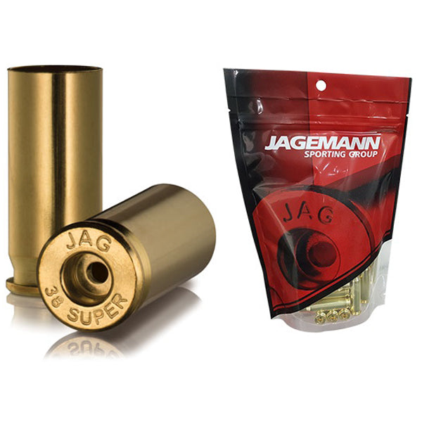 Jagemann Unprimed Brass Cases 38 SUPER - 100 Pack (Small Pistol or Small Rifle Primer)