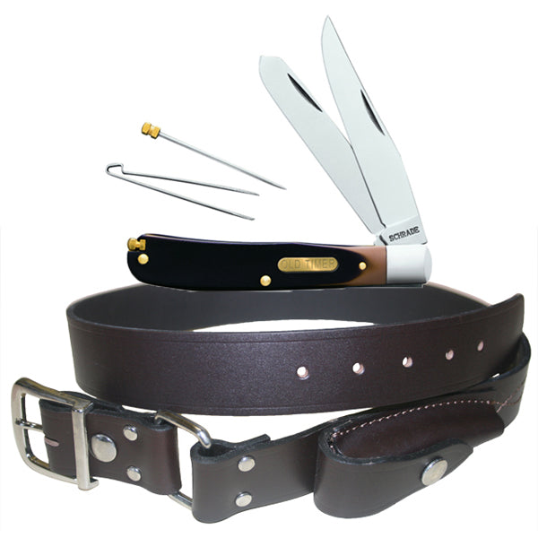Stockman's Genuine Leather Belt With Schrade 96OT Old Timer Knife Deal