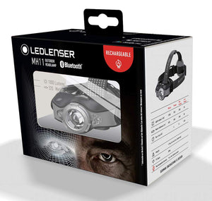 Led Lenser MH11 - 1000 Lumen LED Rechargeable Outdoor Series Headlamp with Bluetooth - Black/Grey, Boxed