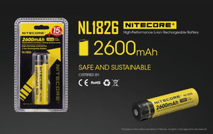 Nitecore 3.7V 2600mAh 18650 Lithium-ion Rechargeable Battery