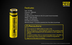 Nitecore 3.7V 3200mAh 18650 Lithium-ion Rechargeable Battery