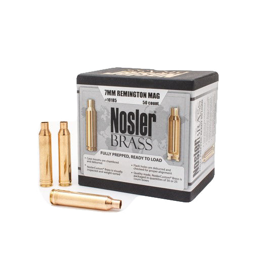 NOSLER 7MM REM MAG UNPRIMED CUSTOM BRASS CASES - 50 Pack