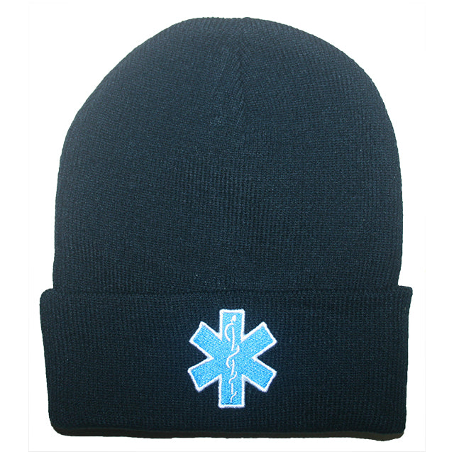 Rothco Paramedic Stretch Beanie Black With Star Of Life Embroidered Logo