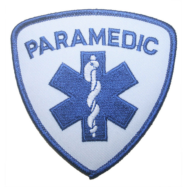 "Paramedic Shoulder Patch 3-1/2"" x 3-1/2"" Blue On White"