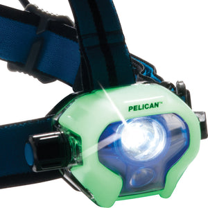 PELICAN 2780R - 558 Lumen LED Rechargeable Headlamp, Photoluminescent Glow Face