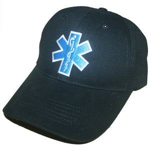 Rothco Paramedic Baseball Cap Black With Star of Life Embroidered Logo