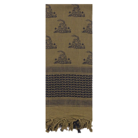 Rothco Gadsden Snake Shemagh Tactical Desert Scarf - Olive Drab/Black