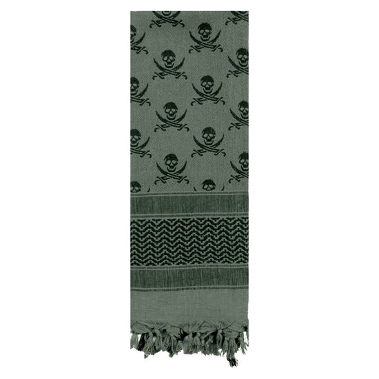 Rothco Skulls Shemagh Tactical Desert Scarf - Foliage/Black