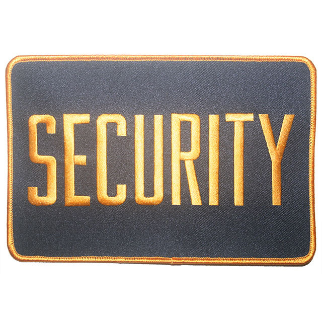 "Security Back Patch 7-1/2"" x 5"" Orange On Black"