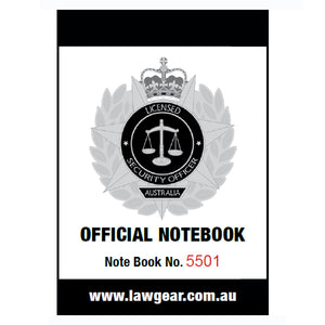 PRO-DUTY Security Officer Crowd Controller Australia Official Notebook (Suits PRO-DUTY Covers)
