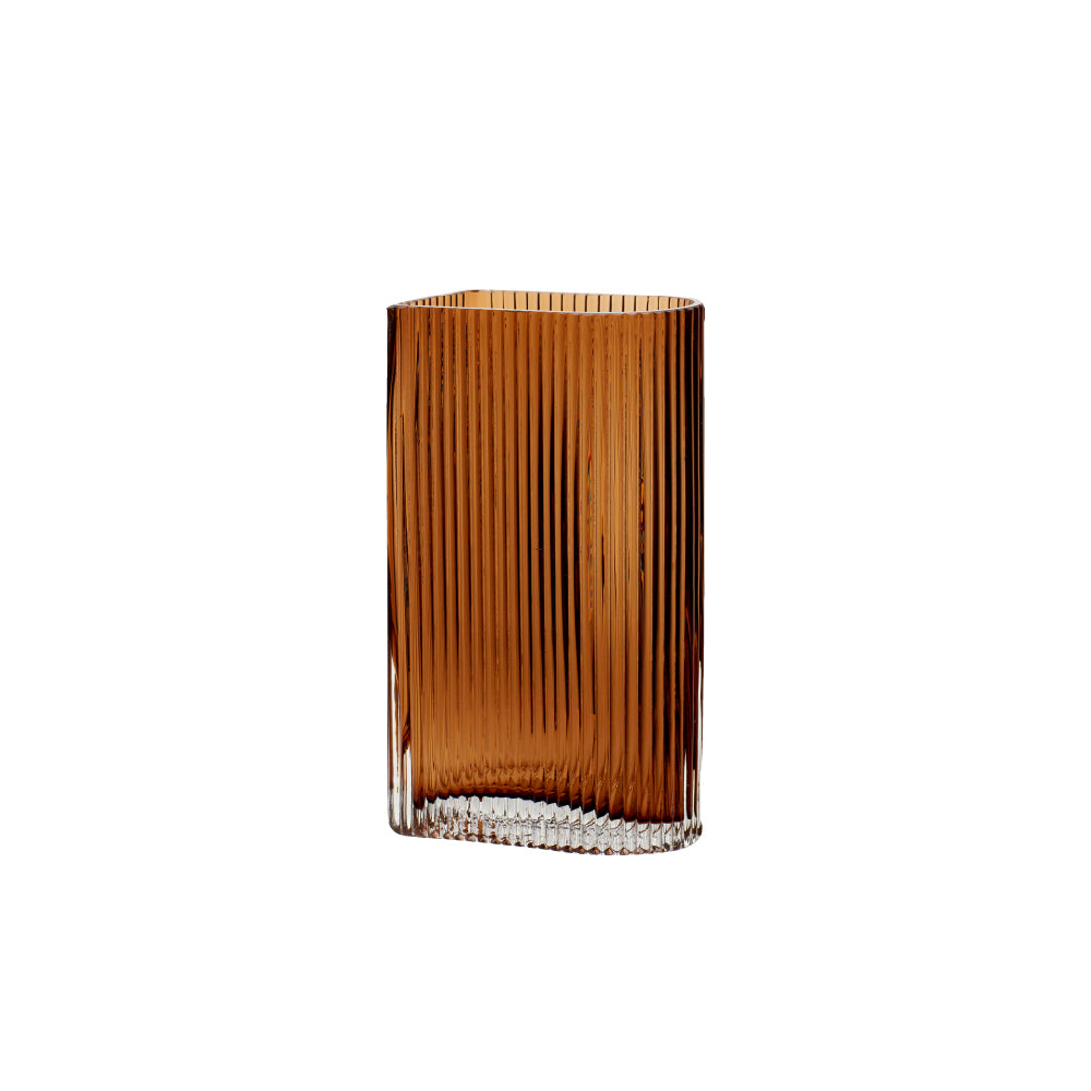 Hübsch | Ribbed Amber Glass Vase | M