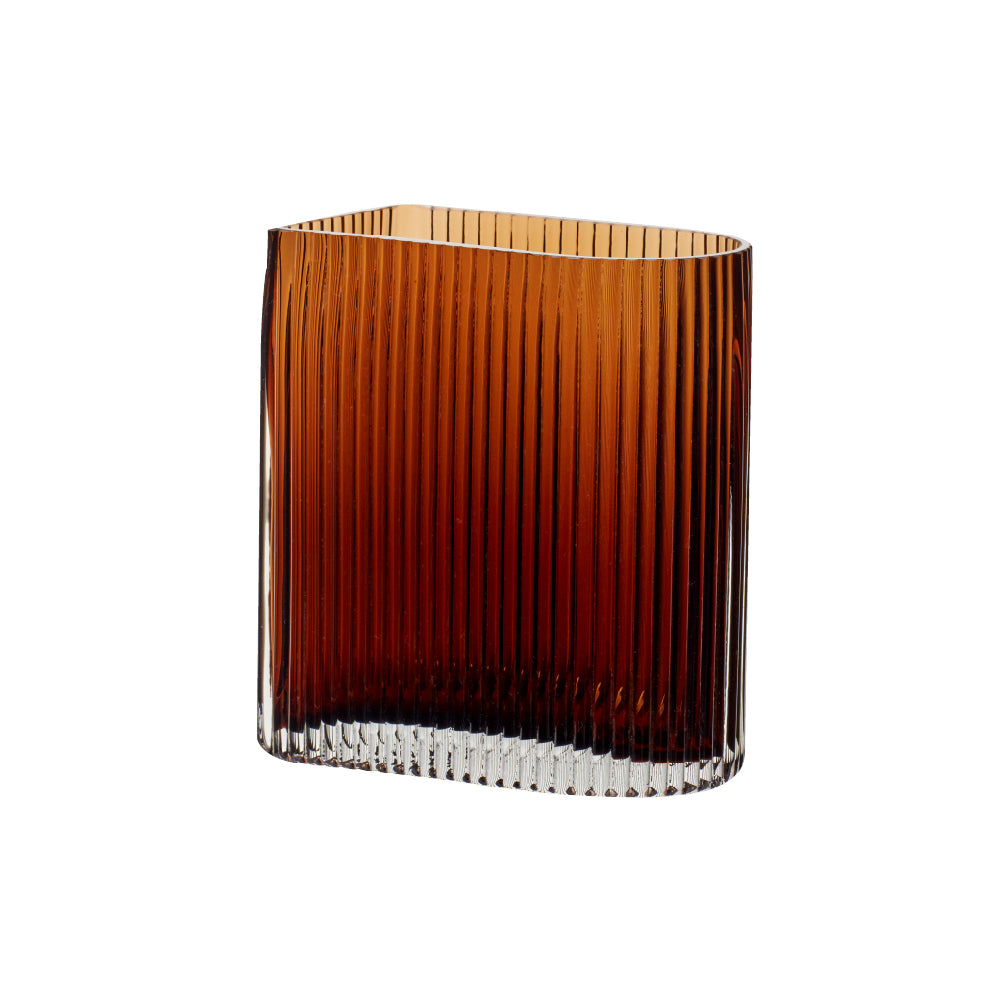 Hübsch | Ribbed Amber Glass Vase | L