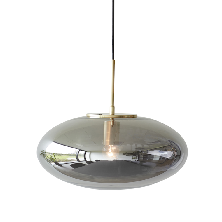 Hübsch | Glass Mirror Pendant Light | Brass