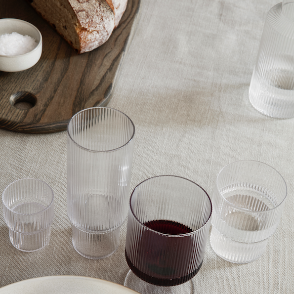Ferm Living | Ripple Shot Glasses | Clear | Set of 4