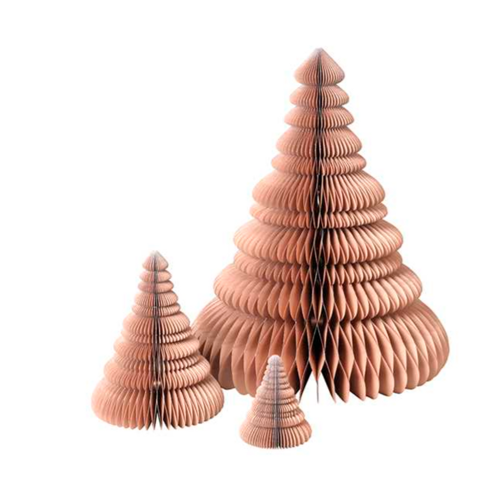 Broste Copenhagen | Paper Christmas Tree Set | Indian Tan