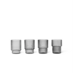 Ferm Living | Ripple Shot Glasses | Smoked Grey