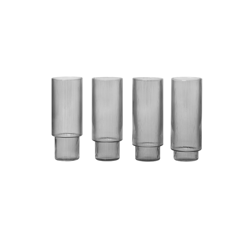 Ferm Living | Ripple Long Drinking Glass | Smoked Grey | Set of 4