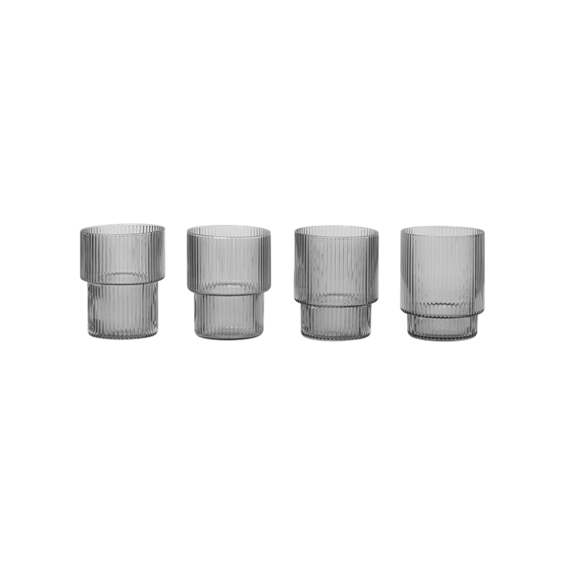 Ferm Living | Ripple Glasses | Smoked Grey | Set of 4