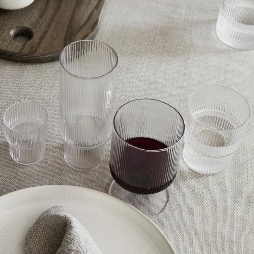 Ferm Living | Ripple Wine Glasses | Clear | Set of 2