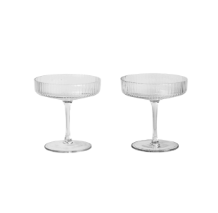 Ferm Living | Ripple Champagne Saucer  | Clear | Set of 2