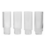 Ferm Living | Ripple Long Drinking Glass | Clear | Set of 4