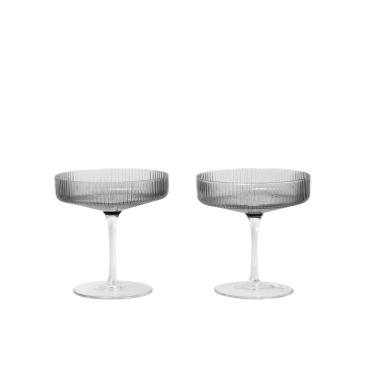 Ferm Living | Ripple Champagne Saucer  | Smoked Grey| Set of 2