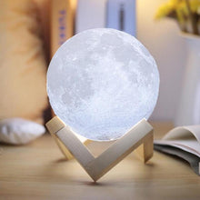 Load image into Gallery viewer, 3D Moon Shaped Touch Control Night Light