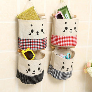 5Pcs/Set Jute Cloth Wall Hanging Storage Bags