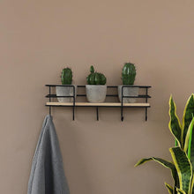 Load image into Gallery viewer, 3/4/5-Hooks Iron Wood Wall Hanging Shelf