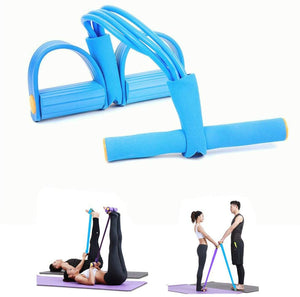Multi-Function Leg Tummy Training Foot Sit-Up Pedal Rally Latex Fitness Pull Rope Exercise Tools Four-tube