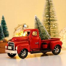 Load image into Gallery viewer, Vintage Red Metal Truck with Movable Wheel Christmas Car Kids Toys