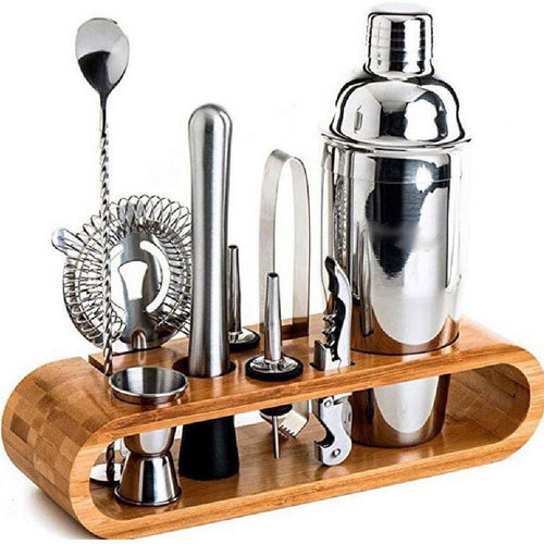 11-Piece Bar Tool Set with Bamboo Stand, 750 ML Bartending Kit