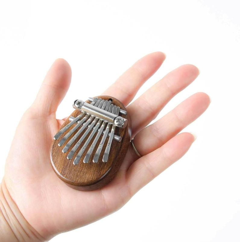 8 Keys Mini Kalimba Sansula Thumb Piano Mbira Solid Wood Gift Toy With Lanyard