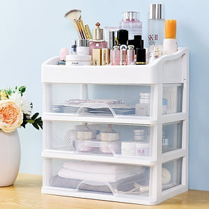 Translucent Drawer Cosmetic Storage Box Desktop Storage Rack Skin Care Product Rack 3-Layer