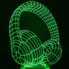 Load image into Gallery viewer, 3D Optical Illusion Colour Earphone Shape Changing LED Night Light Table Lamp