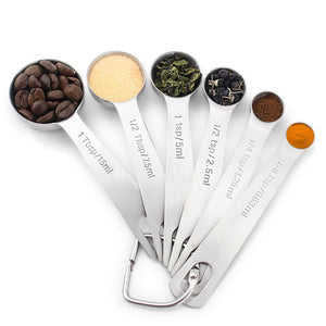 6Pcs/Set Silver Stainless Steel Measuring Spoon