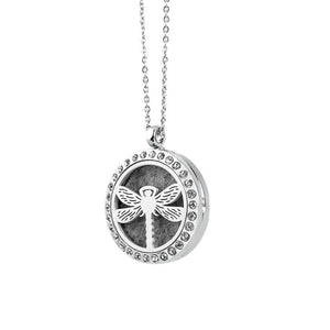 30mm Alloy Silver Magnetic Aroma Necklace with Diamond