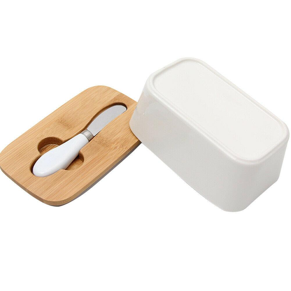 Butter Seal Ceramic Box Wood Cover with Knife