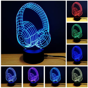 3D Optical Illusion Colour Earphone Shape Changing LED Night Light Table Lamp