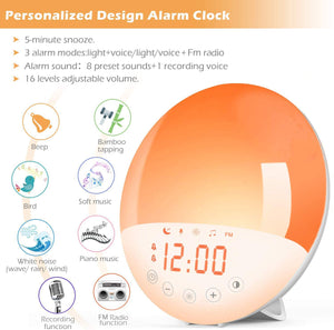 WIFI Smart APP Wake-up Light Alarm Clock Analog Sunrise Wake-up Light Colorful LED Light Electronic Clock Japanese