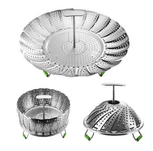 Load image into Gallery viewer, 11 Inch Stainless Steel Folding Steamer Basket