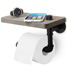Load image into Gallery viewer, Wood Steel Wall-Mounted Toilet Paper Holder