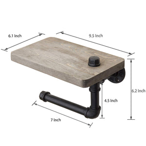 Wood Steel Wall-Mounted Toilet Paper Holder