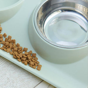 Pet Stainless Steel Feeder Double Bowl