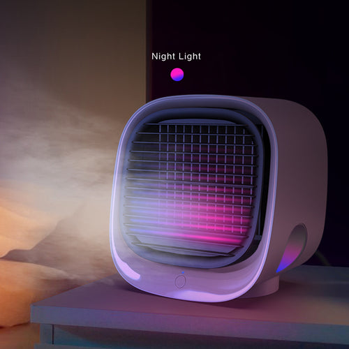 Mini Negative Ion Air Conditioning Cooling Fan Humidification Refrigeration Night Light Multifunctional USB Charging Desktop Cooler Pink