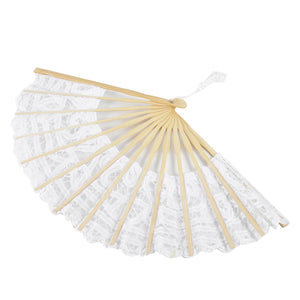 Womens Multi Color Handmade Cotton Lace Folding Hand Fan